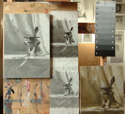 silver vase - tonal sketches