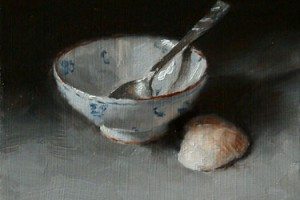 Still Life Study with Teaspoon, Chinese Bowl and Shell, A Limited Palette Study