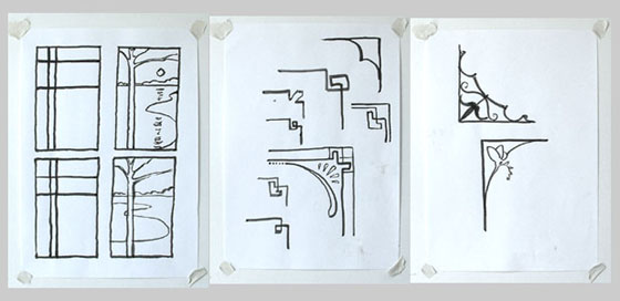 Three drawings of designs incorporating the compositional element of transition