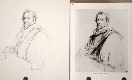 Old Master Drawing Copy Van Dyck