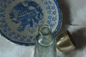 Still Life with Wedgwood Saucer, Bottle and Silver Egg Cup