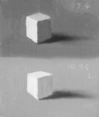 Two white cubes