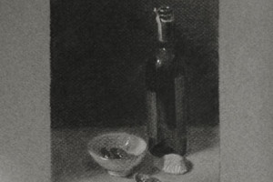 Wine and Dates – a Still Life Drawing