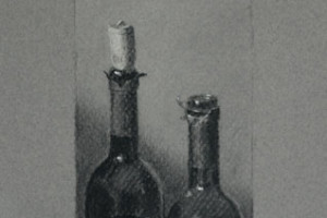 Wine Bottles, a Still Life Drawing in Charcoal