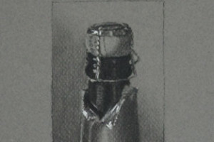 Champagne Cork – Charcoal and Chalk Drawing