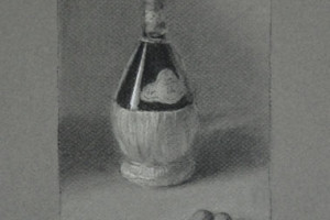 Chianti and Olives – Still Life Charcoal Drawing