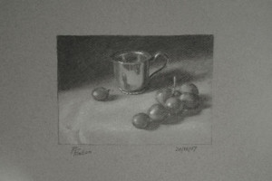 Silver Cup and Grapes – a Still Life Value Study