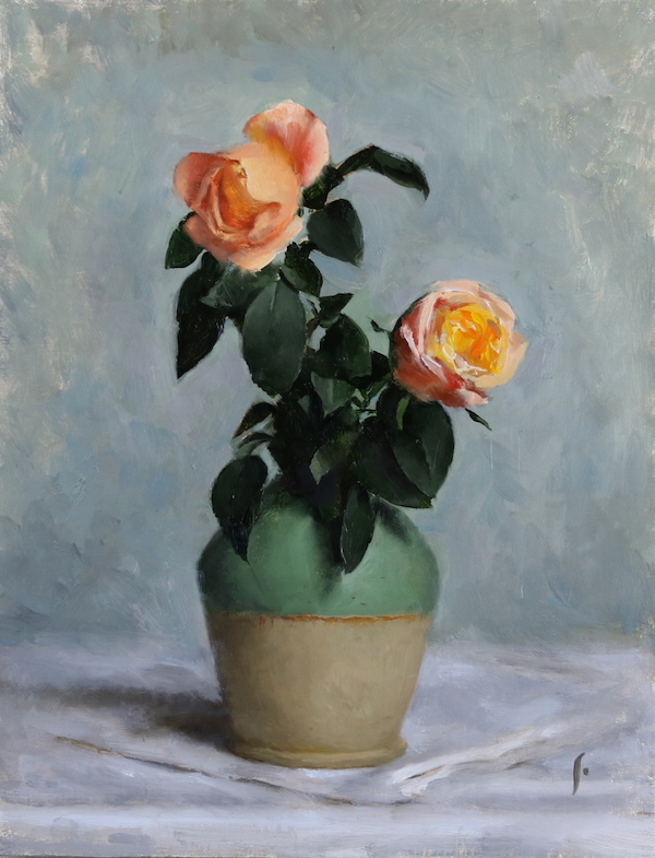 orange roses, oil on canvas panel