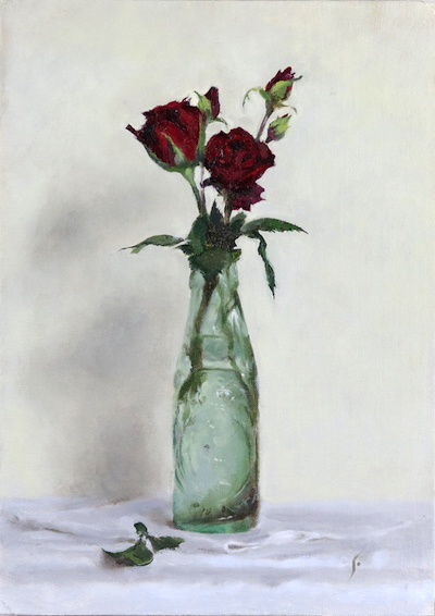 Red roses, oil on canvas panel
