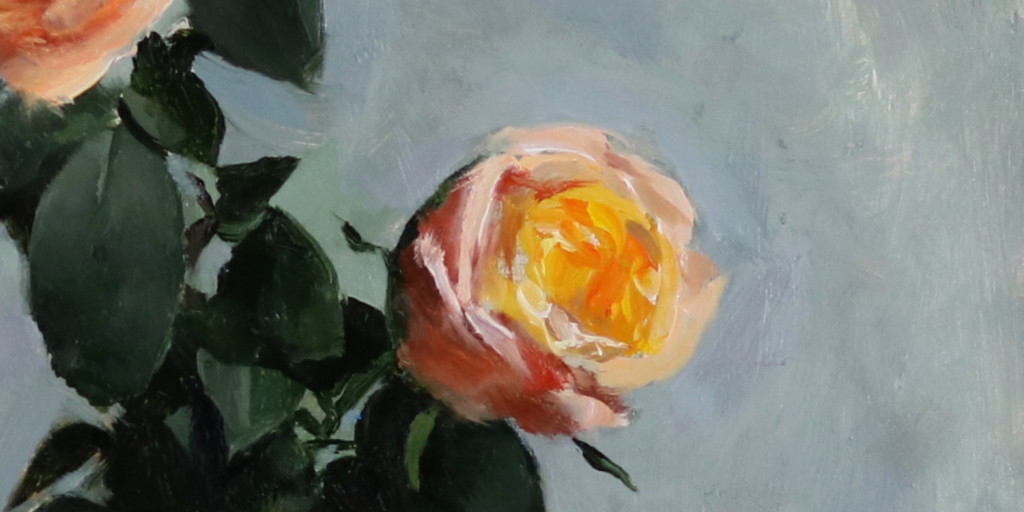 oil painting detail, orange roses