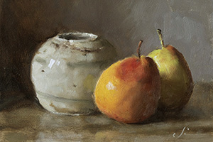 Two Pears and a Ginger Jar