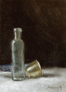 Still Life with Old Bottle and Silver Christening Cup
