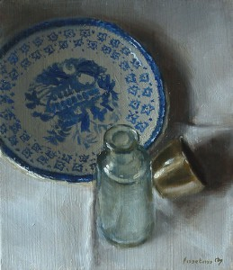 Still life with Wedgwood Saucer, Old Bottle and Christening Cup