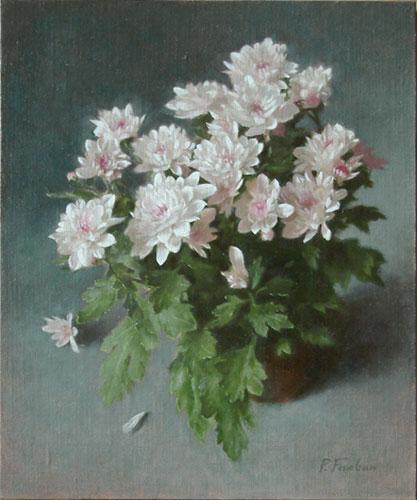 Oil painting on linen panel: Winter Chriysanthemums