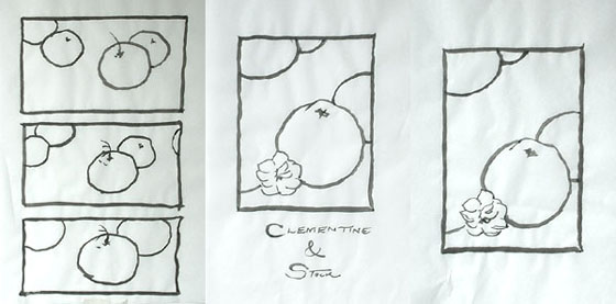 Chinese brush drawings of clementines