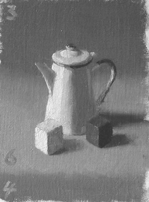 Coffee pot and cubes tone study