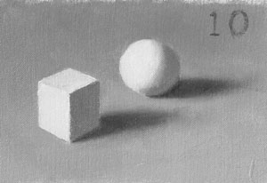 Munsell Value 10 cube and sphere