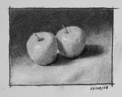 Still life drawing number eight - two apples