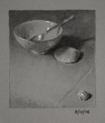 Still life drawing number forty-three - Bowl, Teaspoon and Shells