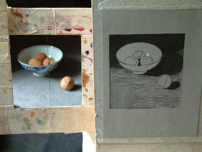 bowl of walnuts, work in progress 2