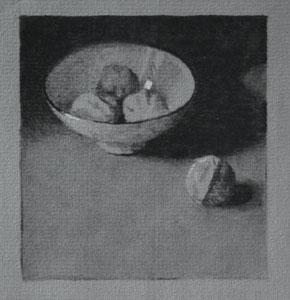 bowl of walnuts, work in progress 4
