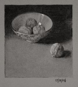 Still life drawing number Thirty-nine - Bowl of Walnuts