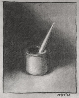 Still life drawing number sixteen - a brush in a jar