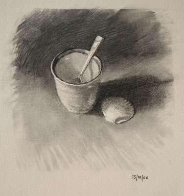 Still life drawing number forty-four - Japanese Cup, Teaspoon and Shell