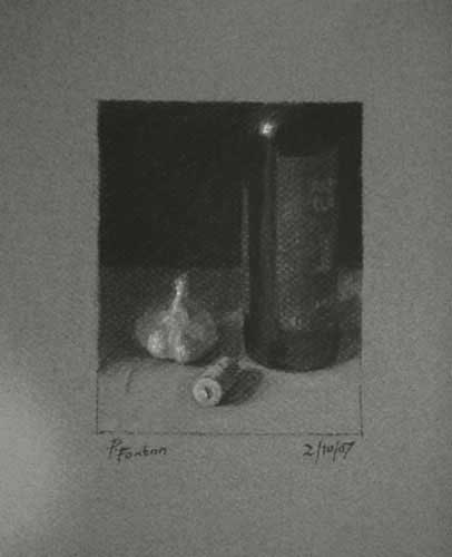 Still life drawing number forty-seven - Garlic and Bottle
