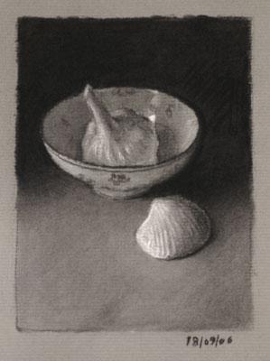Still life drawing number twenty-six - Garlic, bowl and shell