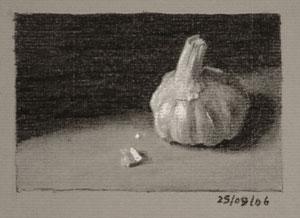 Still life drawing number Thirty-two - Garlic bulb