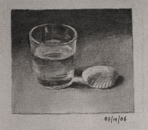 Still life drawing number Forty - Glass of Water and Shell