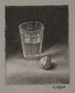Still life drawing number twenty-eight - Glass of Water and Walnut