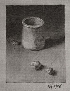 Still life drawing number Thirty-seven - Jar and Conkers