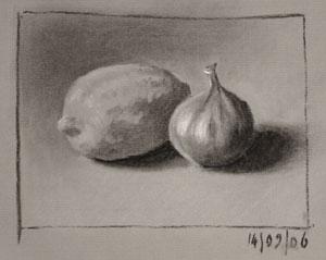 Still life drawing number twenty-five - lemon and fig
