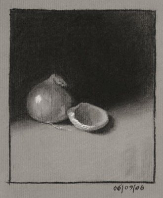 Still life drawing number eighteen - Onion and Sea Shell