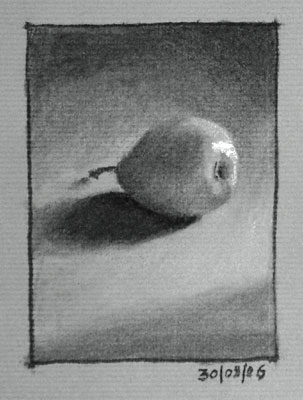 Still life drawing number ten - a pear