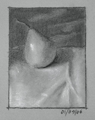 Still life drawing number twelve - a pear