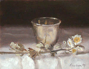 Still life with dried flowers and silver Christening cup