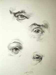 Four drawings of eyes