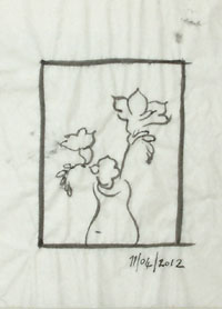 The fourth drawing, placing the original elements within a different shaped border.