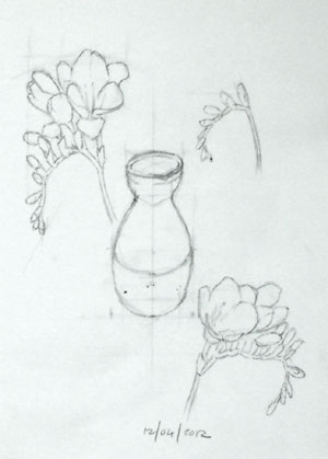 New sketches of the main elements to use in the next set of compositions.