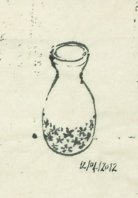 A tracing of the Japanese bottle in brush and ink.