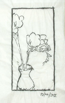 The same composition with the new drawings of the bottle and freesias.