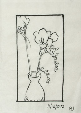 A tracing in brush and ink of the previous design.