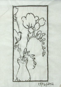 Adding another freesia, tryng to achieve a better balance.
