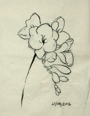 Enlarging the flower drawing.