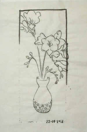 The first attempt at adding the new freesia drawing to the composition.