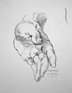 Hand drawing number six