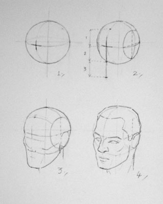Constructing the head from a sphere